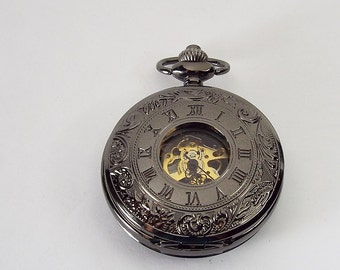 Pocket Watch Custom Engraved Black Finish Roman Numeral Cover Personalized Mechanical Double Dust Cover Wind Up - Hand Engraved