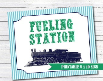 Train Birthday Decorations - Fueling Station Printable Sign - Train Party - INSTANT DOWNLOAD