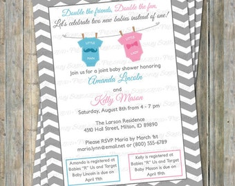 Joint Baby Shower Invitation, Double shower mustache and bow, little lady, little man light blue and pink Digital, Printable file