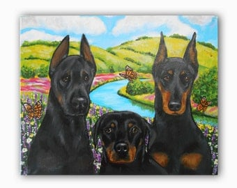 "14x18, 16x20 or 20x24"" Custom Dog Portrait / Custom Pet Portrait - 3 Pets with Background acrylic painting on canvas Doberman Example"