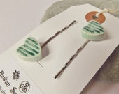 Ceramic Pottery Striped Heart Hair Clips - Hair Grips - Bobby Pins - Set of Two - Green