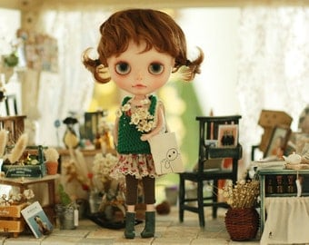 Miss yo 2015 Summer & Autumn - Mori Style Knitted Hollow Pattern Singlet Sweater for Blythe doll - dress / outfit - Green