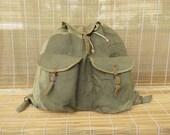 Vintage Distressed Washed Out Green Canvas Backpack Rucksack