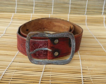 "Vintage Distressed Red Leather Wide Belt Fits from 32"" to 36"" waist"