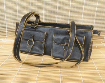 Vintage Lady's Medium Size Brown Black Faux Leather Shoulder Strap Bag