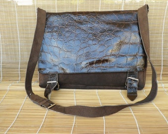 Vintage Lady's Brown Printed Faux Leather And Suede Shoulder Purse