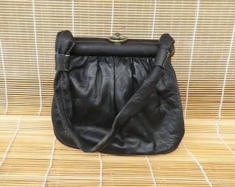 Vintage Small Size Distressed Mini Black Leather Hand Bag