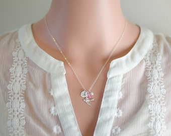 Sterling Silver Bird Necklace   Hand Stamped Initial Necklace   Birthday Gift   White Pearl   Dainty Dove Necklace   Sparrow Jewelry