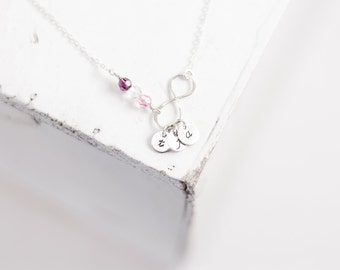Personalized Infinity Necklace - Dainty Jewelry Up to 3 Initials and 3 Crystals or Pearls - Best Friends, Mom Jewelry Wedding Infinite Love