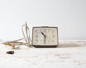 Vintage Retro Black Alarm Clock Westclox Alarm Bedside Clock Plug In Works Great Brown