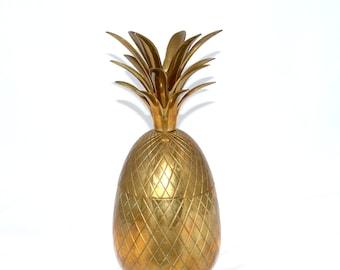 "Pineapple Ice Bucket LARGE Brass Pineapple Box 13"" Pineapple Ice Bucket Gold Pineapple Ice Bucket Pineapple Wedding Decor"