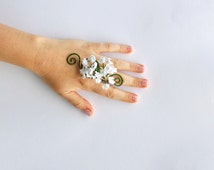 Flower ring Gypsophila flower and vine whimsical woodland wedding bridesmaids flower girls boho hippy