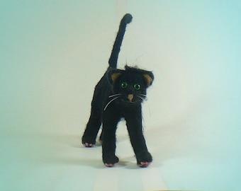 Black Kitty Cat, Needle Felted Soft Sculpture Fiber Art