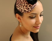 Pin-Up Style, Pink and Black Leopard Print, Felt Fascinator Cocktail Hat - Womens Headpiece