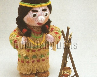 Anne Carol Creations Woolly Wotnots No 24 THE SQUAW Toy Doll Ornament Knitting pattern