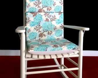 Rocking chair cushion cover hydrangea egg blue ready to ship