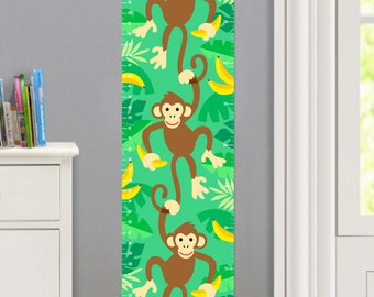 Kids Personalized Monkeys Canvas Growth Chart, Kids Bedroom Decor, High Quality Canvas Growth Chart, Nursery Wall Decor, Monkeys and Bananas