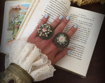Large Tribal Assemblage Ring with Vintage Guilloche Enamel and Blue Rhinestones Tribal Statement Ring Bohemian Chic Jewelry Tribal Jewelry