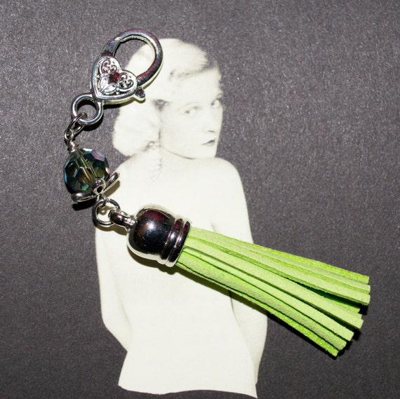 Tassel Key Charm, Boho Tassel Clip, Boho Purse Charm, Lime Green Bag Charm, Tassel Keyring, Zipper Pull, Green Purse Charm, Tassel Zip Pull