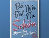 Lindy Lyrics - Bei Mir Bist Du Schon - Retro Style Swing Poster - A3+ Unframed