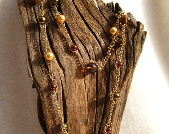 Long Bronze Beaded Necklace