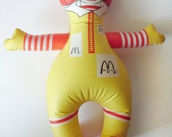 "Vintage 26"" Inflatable McDonalds Ronald McDonald Blow Up Doll Rare Size"