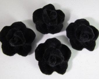 6 Vintage 22mm Black Velveteen Rose Cabochons Cb93
