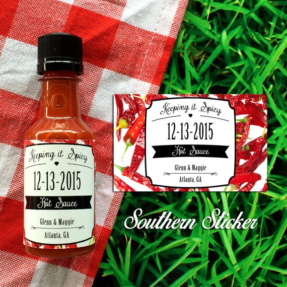 Wedding Hot Sauce Favors Personalized Labels & Empty 50 mL Bottles Outdoor Wedding Favors Hot Peppers Keeping It Spicy Party Favors SS-1027