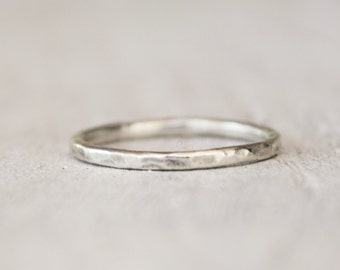 Silver Stacking Ring - Singles or Multiples - Handmade - Simple Brushed Finish - Hammered - Midi Ring - Boho - Handcrafted Metalwork