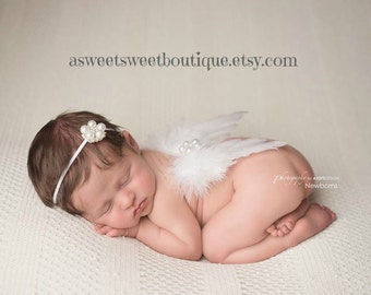 White Feather Wings White Newborn Angel Wings Newborn Angel Wings Angel Photo Prop Angel Wings And Headband Set Newborn Photo Prop