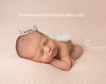 Baby Girl Wings And Tiara Baby Girl Photo Prop White Feather Wings Newborn Angel Wings Baby Girl Angel Wings And Crown Newborn Photo Prop
