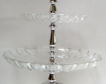 Vintage Two Tier Glass Serving Tray. Dessert Tray, Holiday Party,Tea Party,Coffee Shops,Bakery