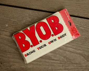 Vintage Party Invitations - BYOB Bring Your Own Body - 8 invites