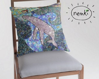 Whale and Boat Illustrated Throw Pillow, Cushion Cover