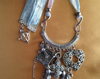 Necklace with middle age look to it, Pewter elements and a Ribbon Tie