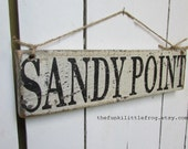 SANDY POINT Rustic Reclaimed Wooden Handpainted Sign, Thefunkilittlefrog