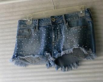 blue jean shorts size 5 with sparkles 5 pocket jeans