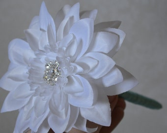 Dahlia flower pen-white and pool blue pen with rhinestone brooch and silver mercury pen vase, custom pen, guest book pen,