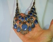 HOLD for Kelly .... Vintage Silver and Lapis Lazuli Cabochon Statement Bib Necklace Large Piece DanPickedminerals