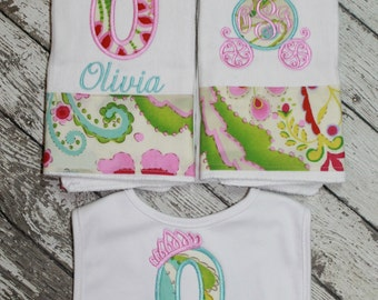 Princess Baby Gift Set - Set of Two Burp Cloth and Bib - Personalized Burp Cloth and Bib
