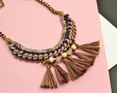 Brown Tassel Necklace, Fan Necklace, Bordeaux and Beige, Crochet Necklace, Fabric Necklace, Hippie Necklace, Tribal Necklace