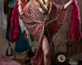 Burgundy Showgirl Feather Cuffs