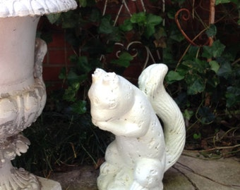 "SQUIRREL STATUE Great Shabby Old Garden Statue Garden Art Chipped Weathered Paint 13"" High Vintage"