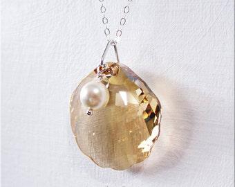 Necklace Pendant 22 Inch Sterling Silver Golden Swarovski Crystal Sea Shell and Cream Swarovski Pearl Necklace