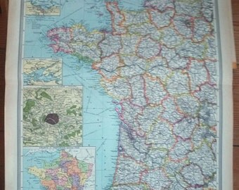 HUGE 20 Inch WESTERN FRANCE Map 1908 Antique Vintage Original