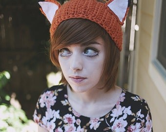 Kitsune - Handmade Crochet Fox Ears Headband Ear Warmer