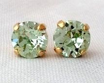 Mint earrings, Clear mint crystal studs, Petite Swarovski crystal studs, mint sea foam gold stud earrings, Bridal earrings, Bridesmaid gift