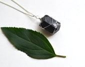 Black Tourmaline Necklace, Raw Black Tourmaline, Mens Necklace, Unisex Jewelry, Healing Stones, Rough Tourmaline Stone, Geology Gift