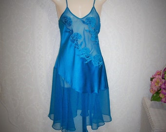 Size Petite - Vintage Chemise Nightgown - from Victoria's Secret  - Nightie - Spaghetti Straps - Teal Bias Cut Satin and Chiffon