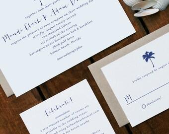 Wedding Invitation, Beach Wedding, Destination Wedding, Printable Wedding Invitation, Palm Tree Wedding Invitation, Nautical Wedding - #S18